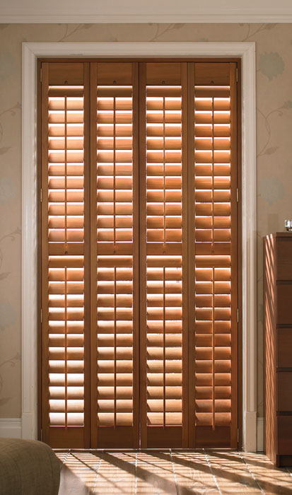 Cedar full height shutters in medium-dark colourway