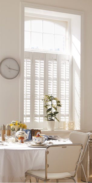 Grovewood  cafe style shutters in silk white